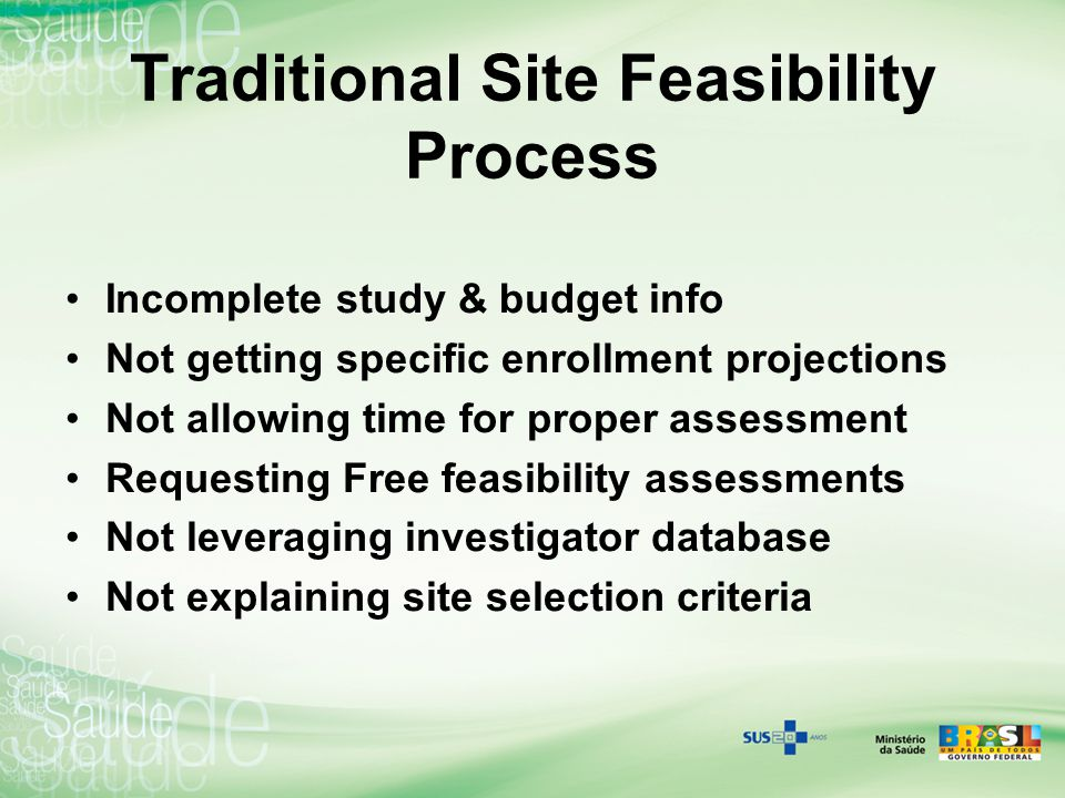 Traditional Site Feasibility Process