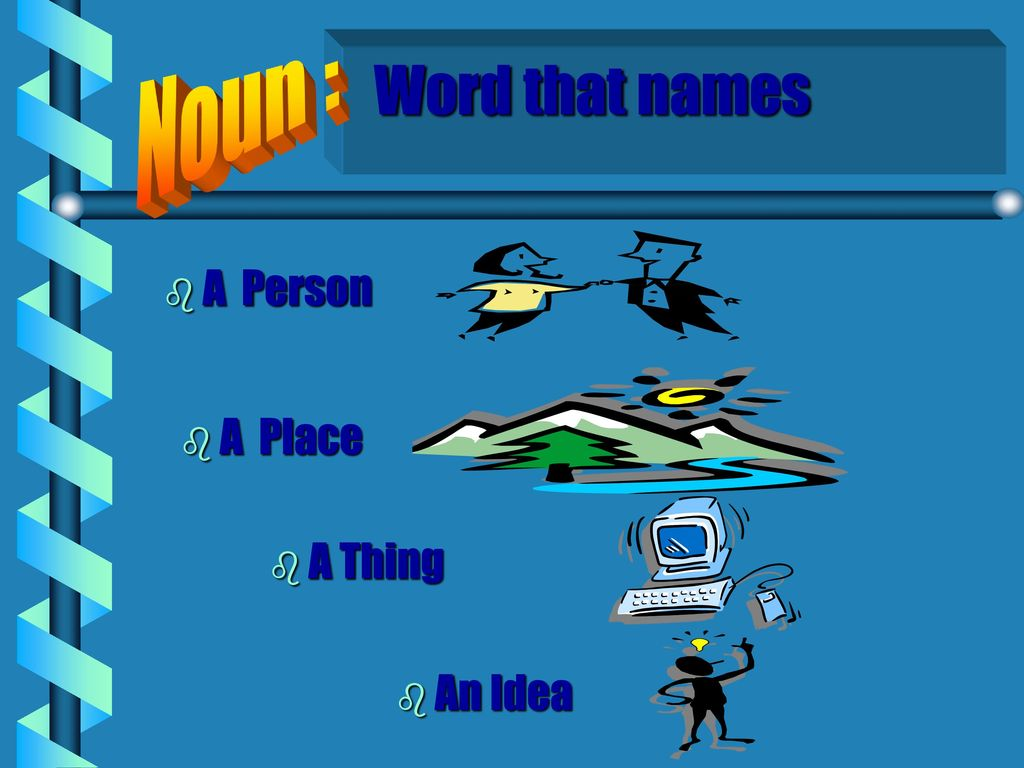 Noun : Word that names A Person A Place A Thing An Idea