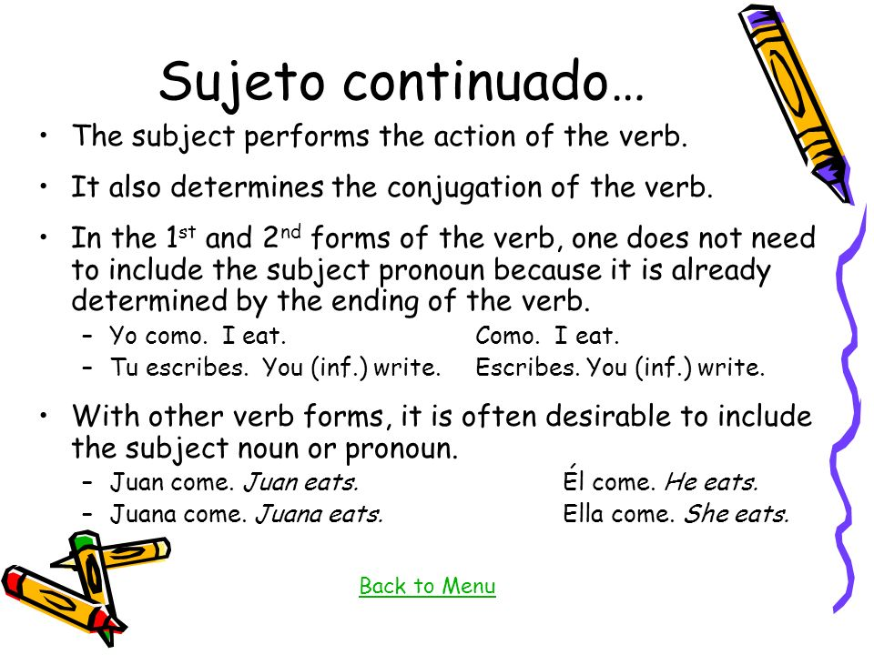 Sujeto continuado… The subject performs the action of the verb.