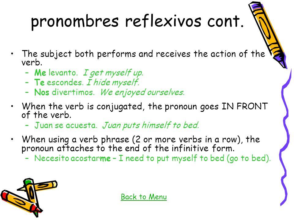 pronombres reflexivos cont.