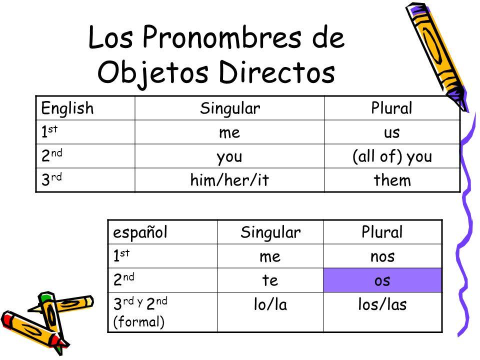 Los Pronombres de Objetos Directos
