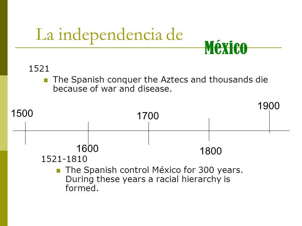 La independencia de México 1900 1500 1700 1600 1800 1521