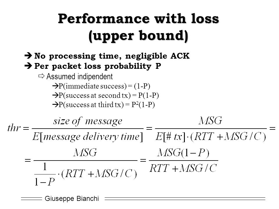 Performance with loss (upper bound)