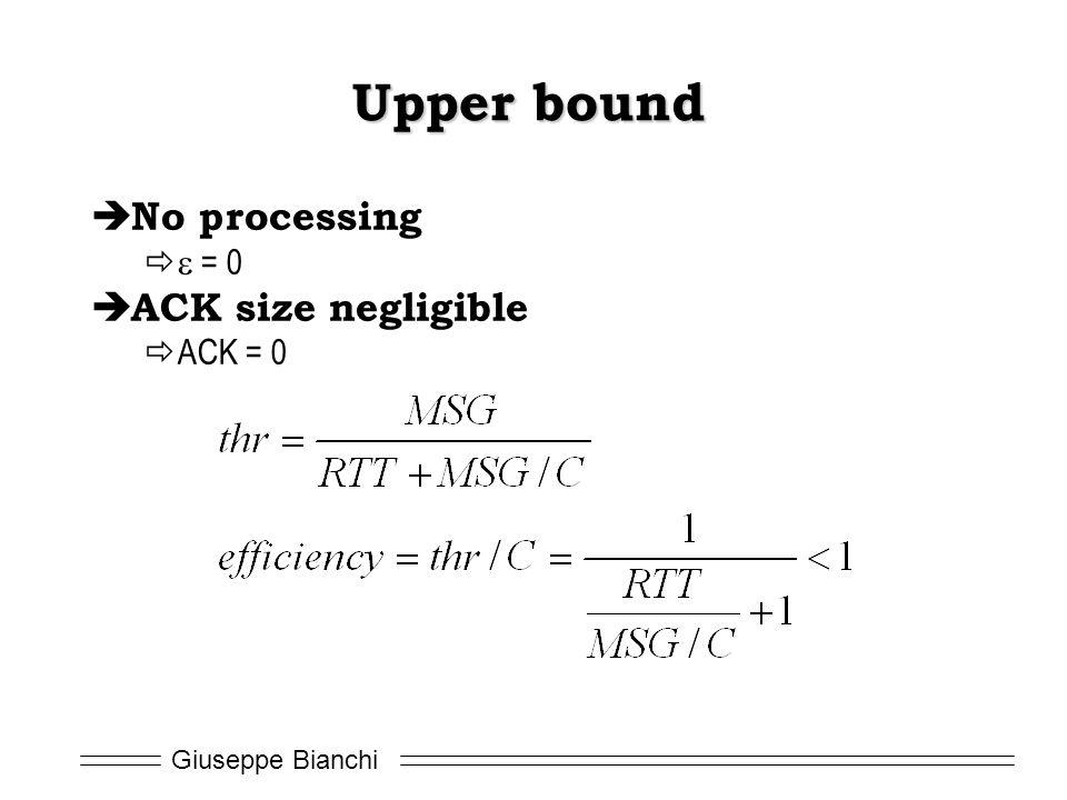 Upper bound No processing e = 0 ACK size negligible ACK = 0