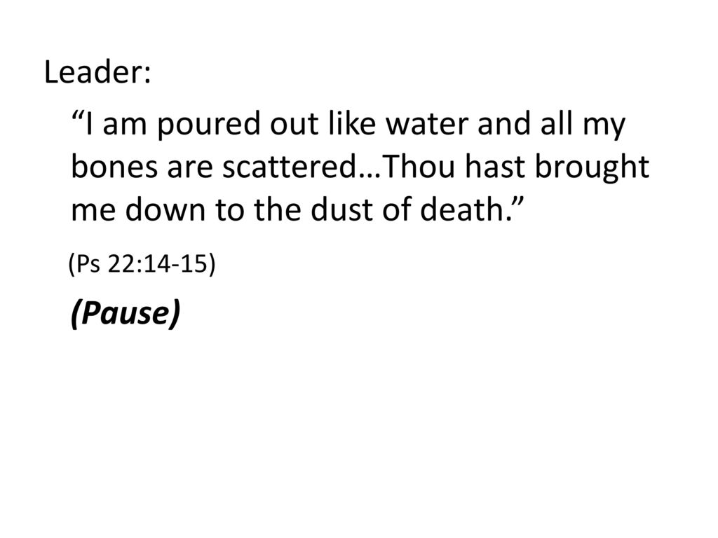 Leader: I am poured out like water and all my bones are scattered…Thou hast brought me down to the dust of death. (Ps 22:14-15) (Pause)