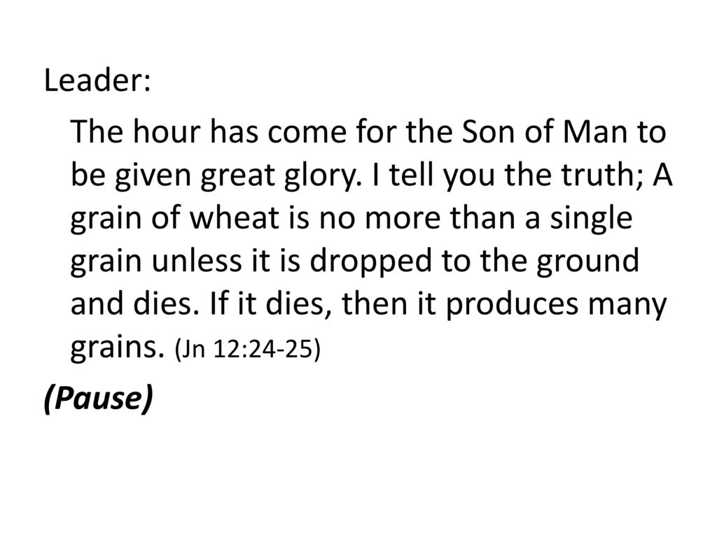 Leader: The hour has come for the Son of Man to be given great glory