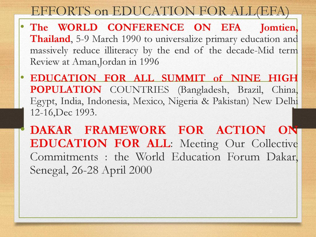 EFFORTS on EDUCATION FOR ALL(EFA)