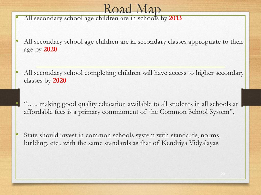 Road Map All secondary school age children are in schools by 2013