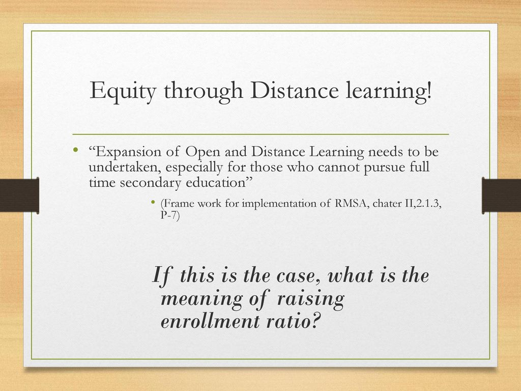 Equity through Distance learning!