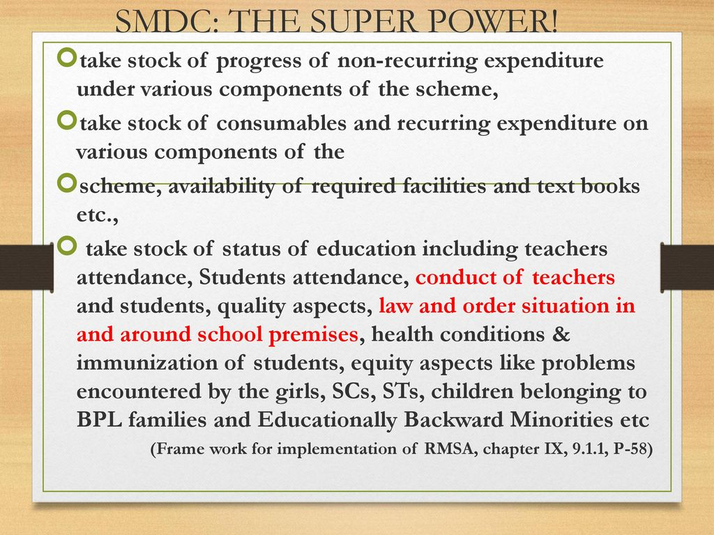 SMDC: THE SUPER POWER! take stock of progress of non-recurring expenditure under various components of the scheme,