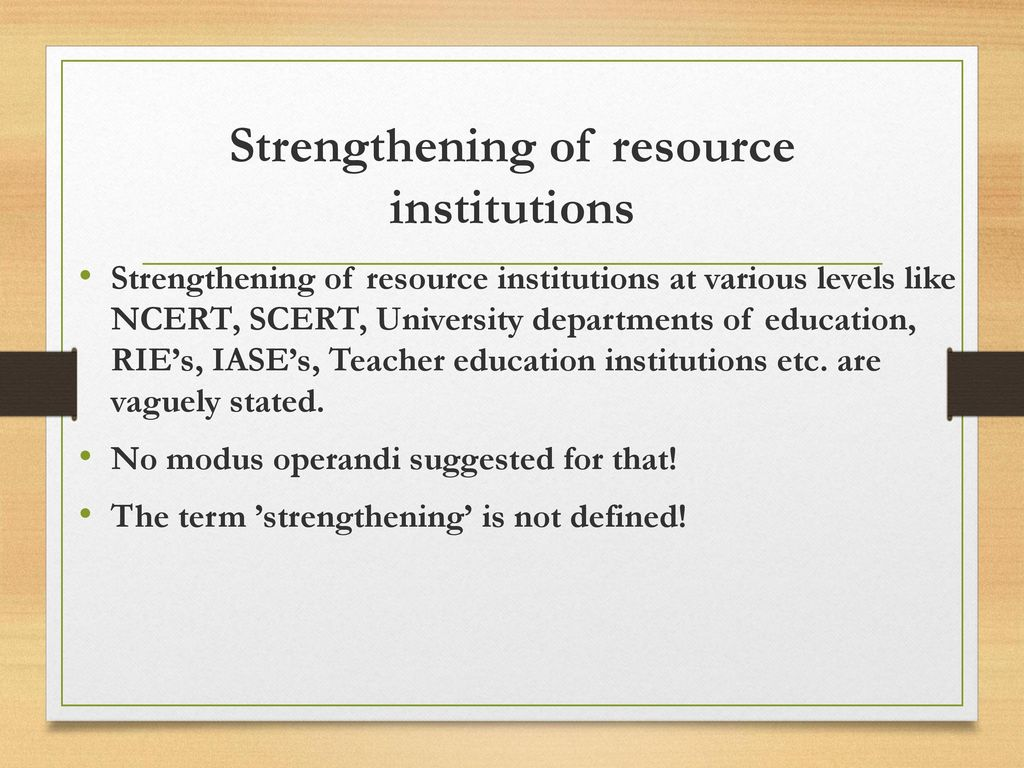 Strengthening of resource institutions
