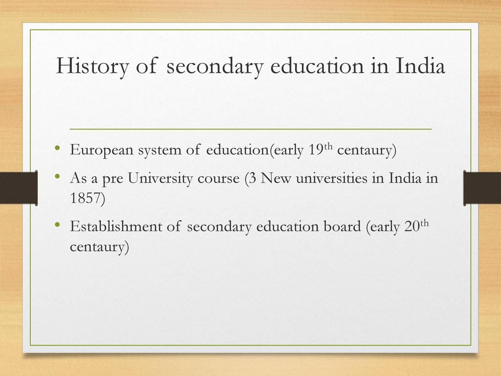 History of secondary education in India