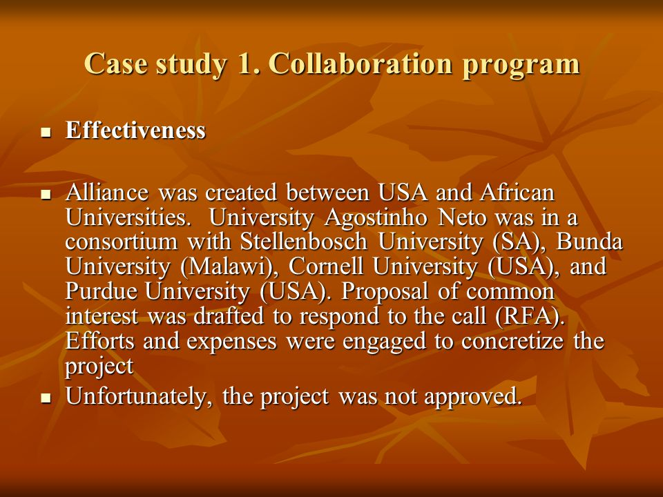 Case study 1. Collaboration program