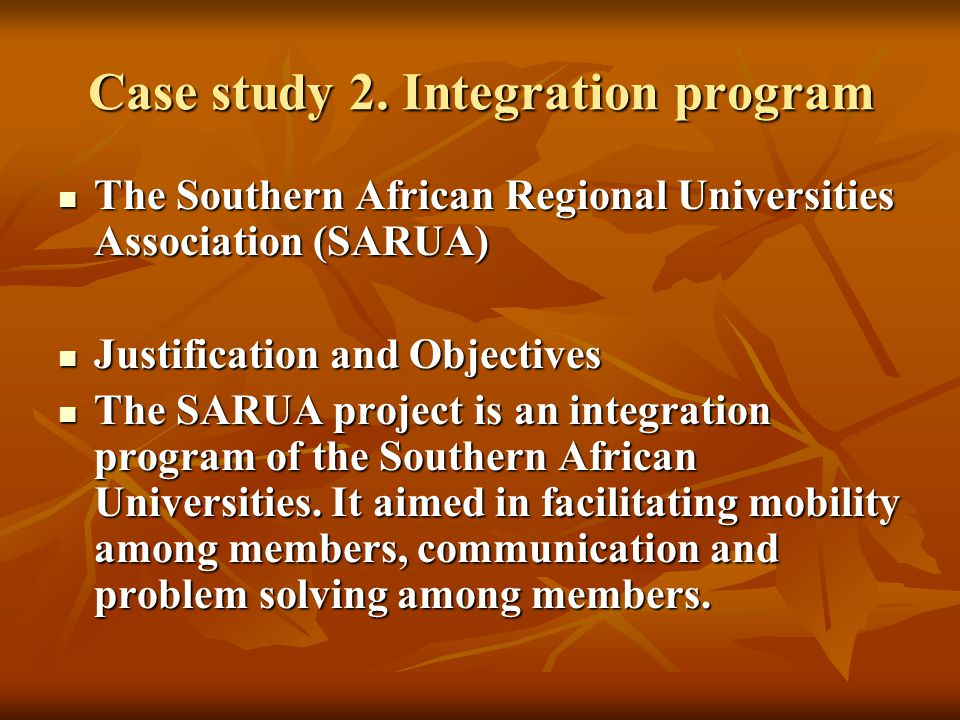 Case study 2. Integration program