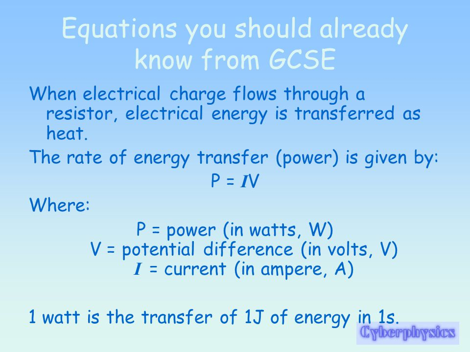 Equations you should already know from GCSE