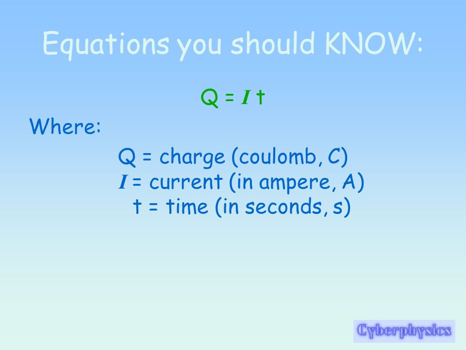 Equations you should KNOW: