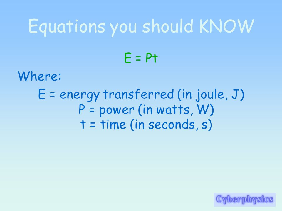 Equations you should KNOW