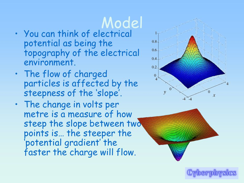 Model You can think of electrical potential as being the topography of the electrical environment.