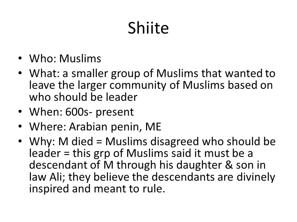 Shiite Who: Muslims. What: a smaller group of Muslims that wanted to leave the larger community of Muslims based on who should be leader.