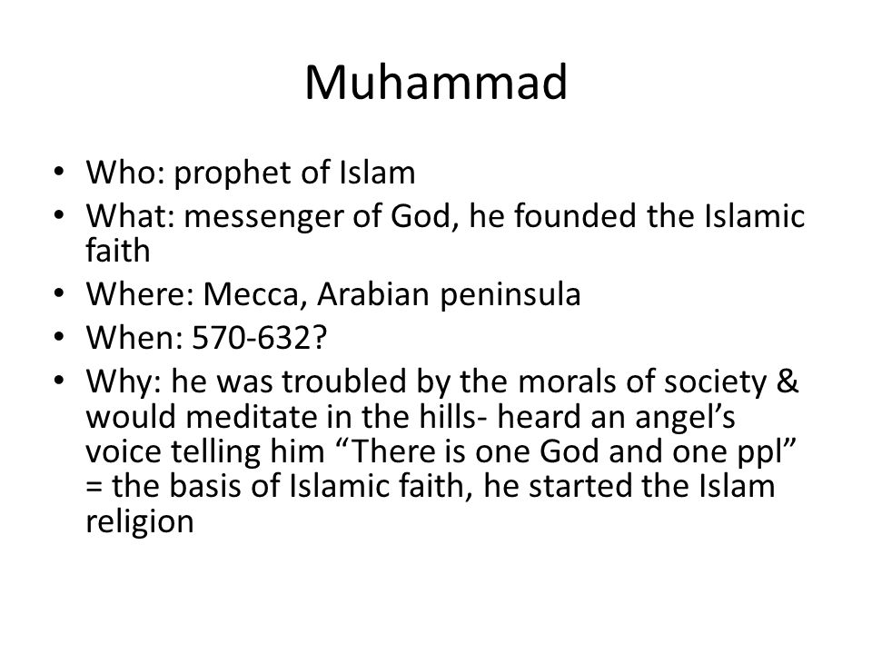 Muhammad Who: prophet of Islam