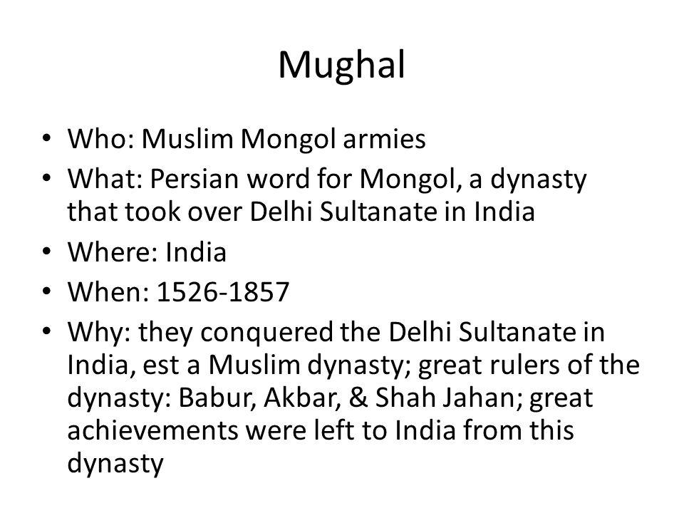 Mughal Who: Muslim Mongol armies