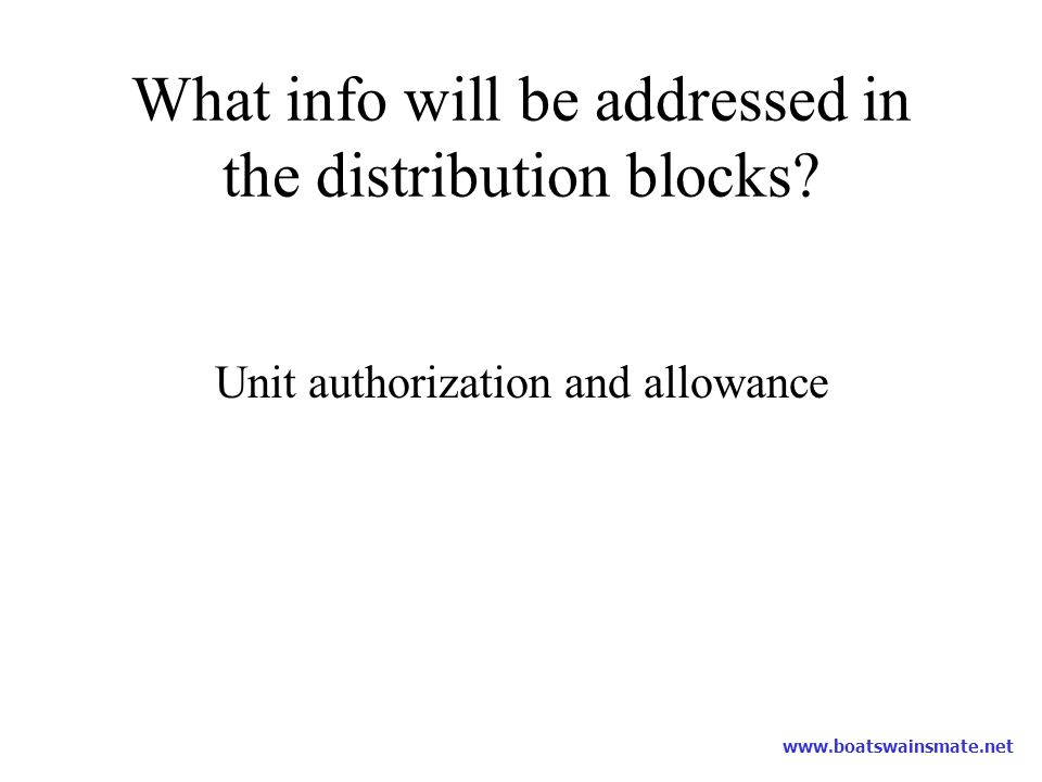 What info will be addressed in the distribution blocks