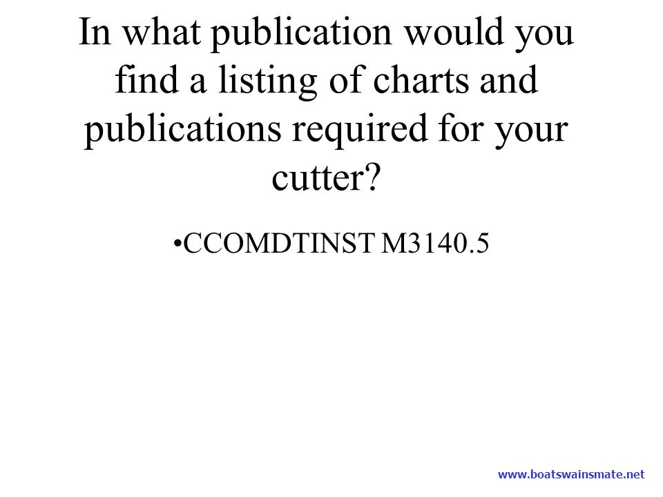 In what publication would you find a listing of charts and publications required for your cutter