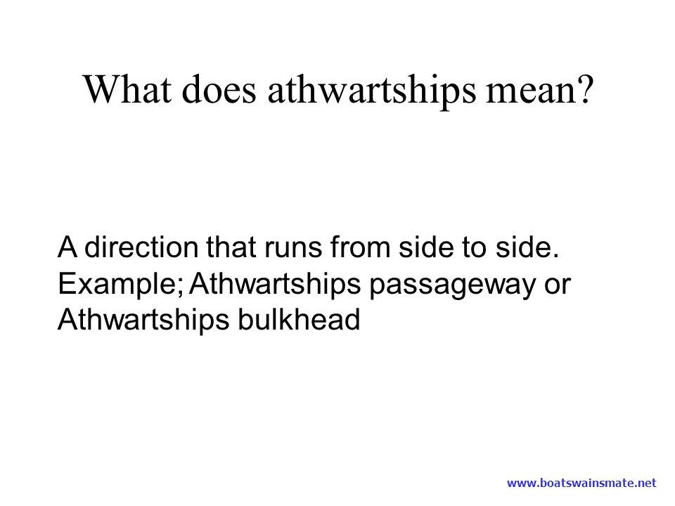 What does athwartships mean