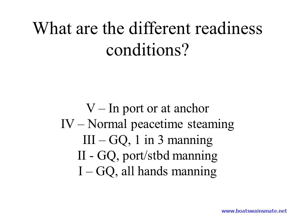 What are the different readiness conditions