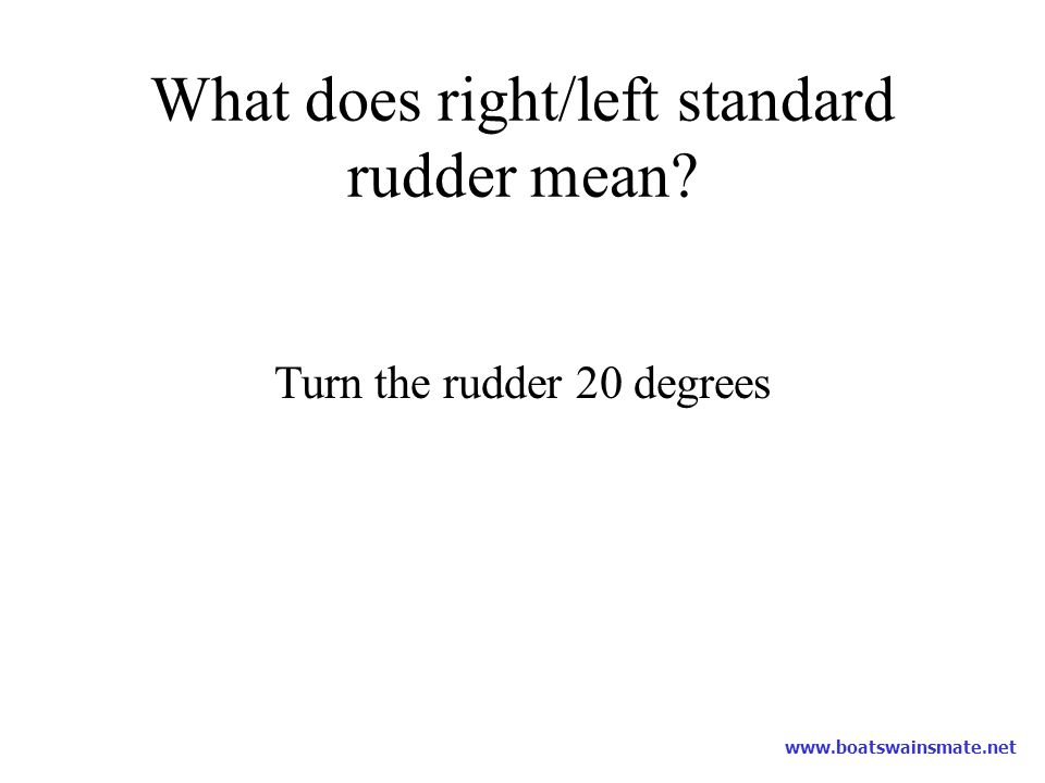 What does right/left standard rudder mean