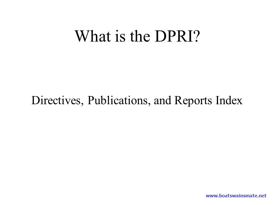 Directives, Publications, and Reports Index
