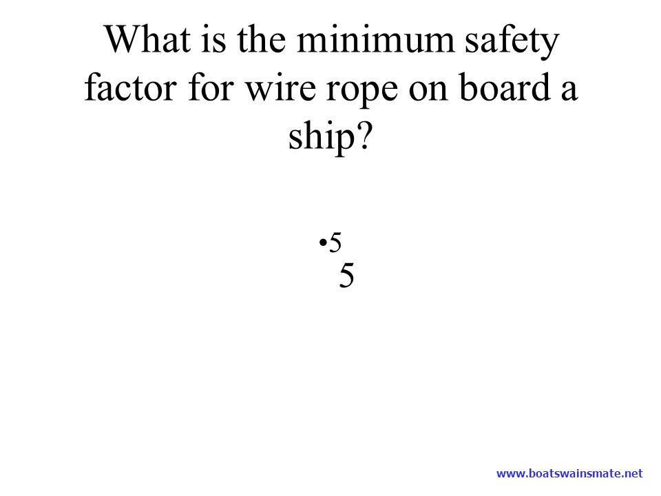 What is the minimum safety factor for wire rope on board a ship