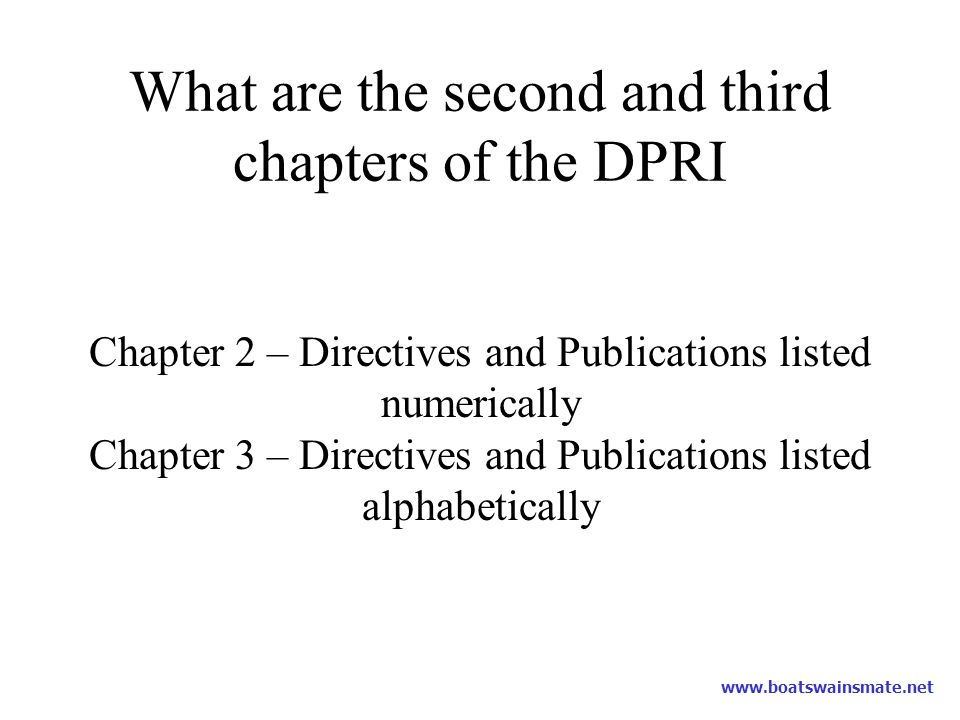What are the second and third chapters of the DPRI