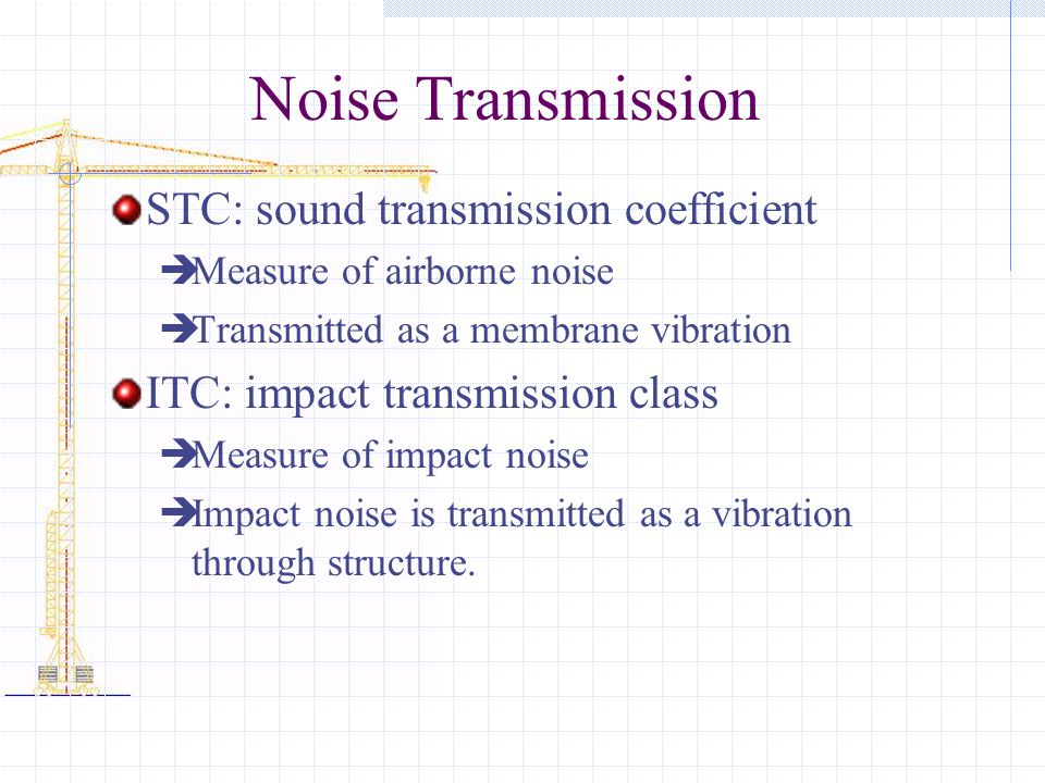Noise Transmission STC: sound transmission coefficient