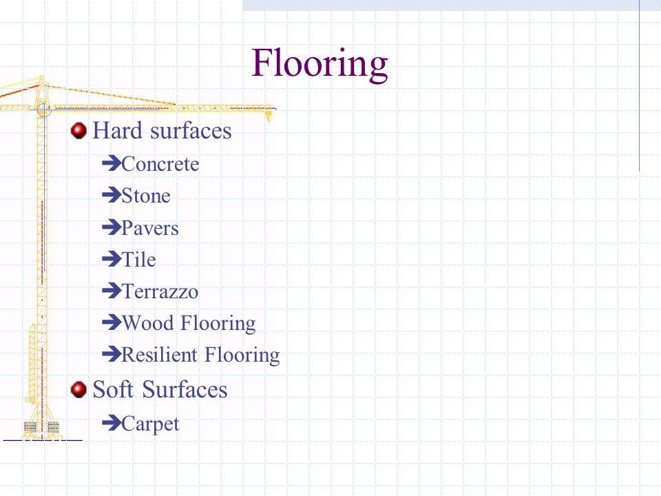 Flooring Hard surfaces Soft Surfaces Concrete Stone Pavers Tile