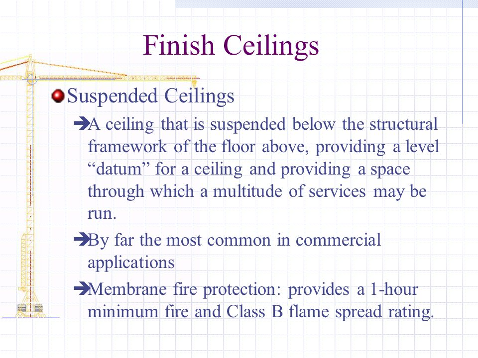 Finish Ceilings Suspended Ceilings