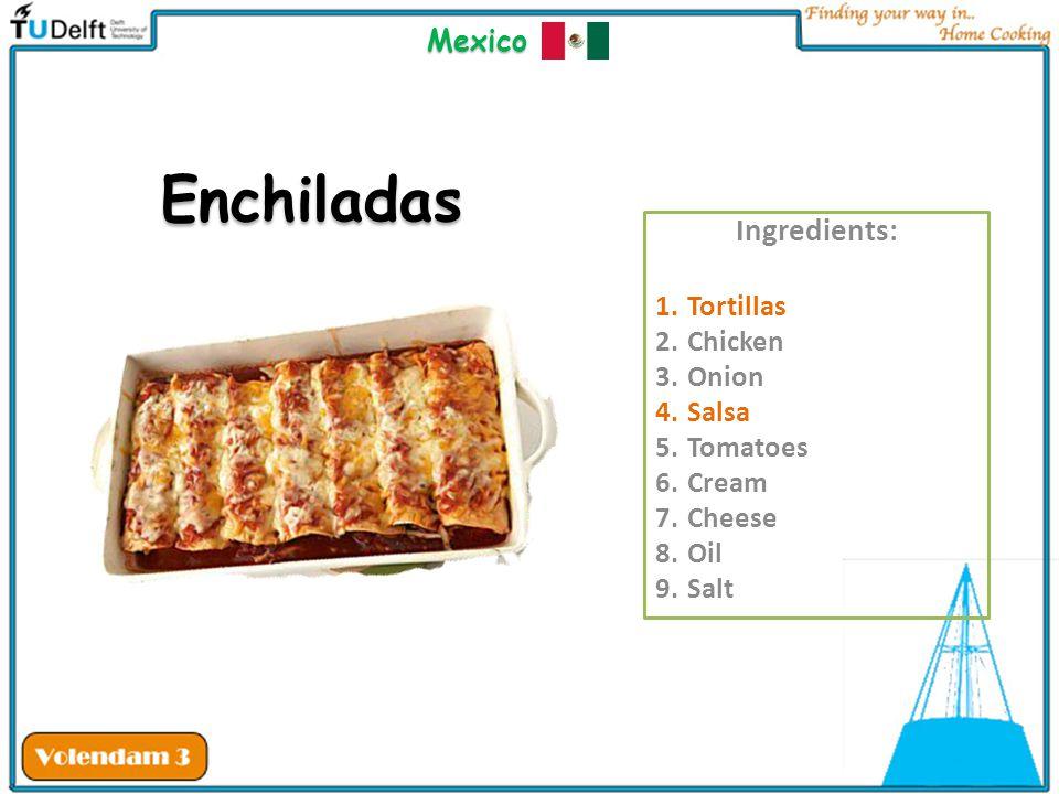 Enchiladas Ingredients: Mexico Tortillas Chicken Onion Salsa Tomatoes