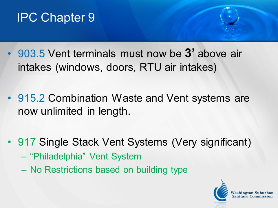 IPC Chapter 9 903.5 Vent terminals must now be 3' above air intakes (windows, doors, RTU air intakes)
