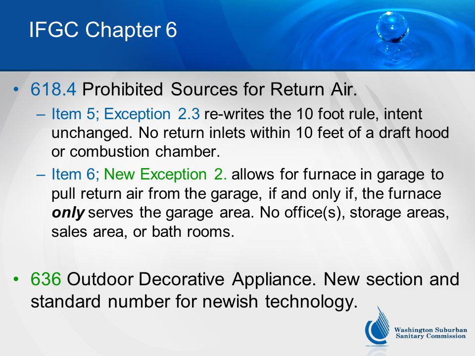IFGC Chapter 6 618.4 Prohibited Sources for Return Air.
