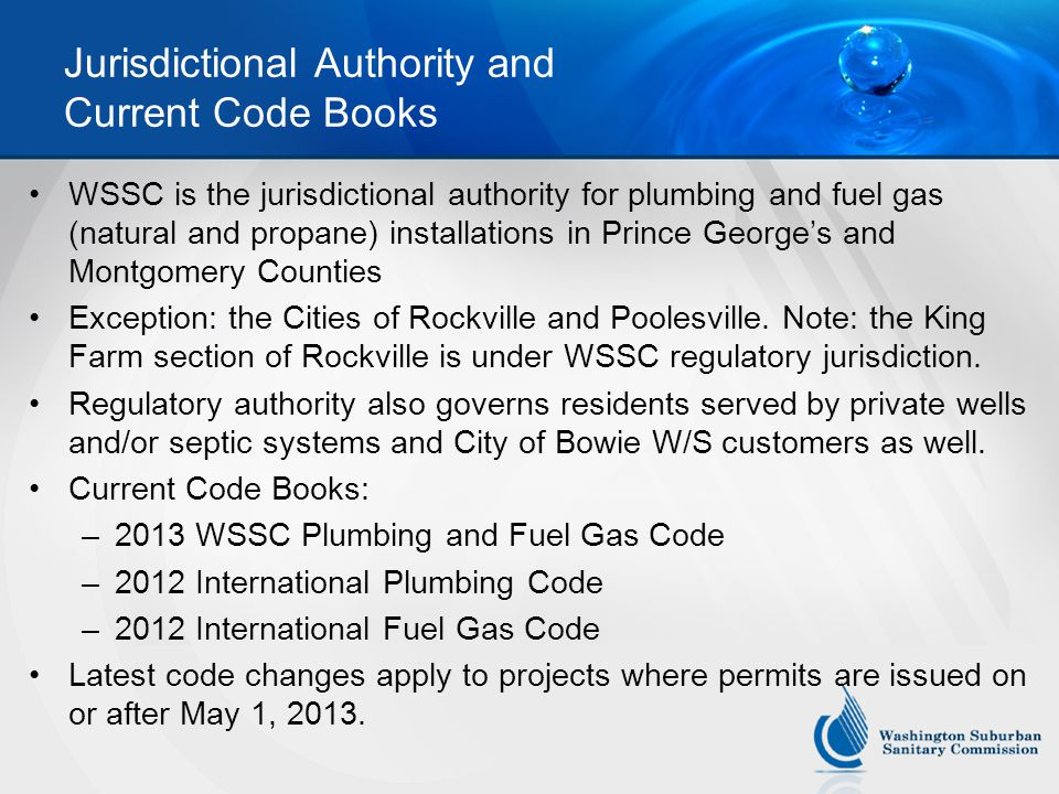 Jurisdictional Authority and Current Code Books