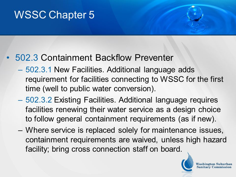 WSSC Chapter 5 502.3 Containment Backflow Preventer