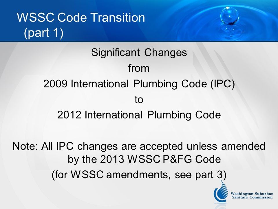 WSSC Code Transition (part 1)