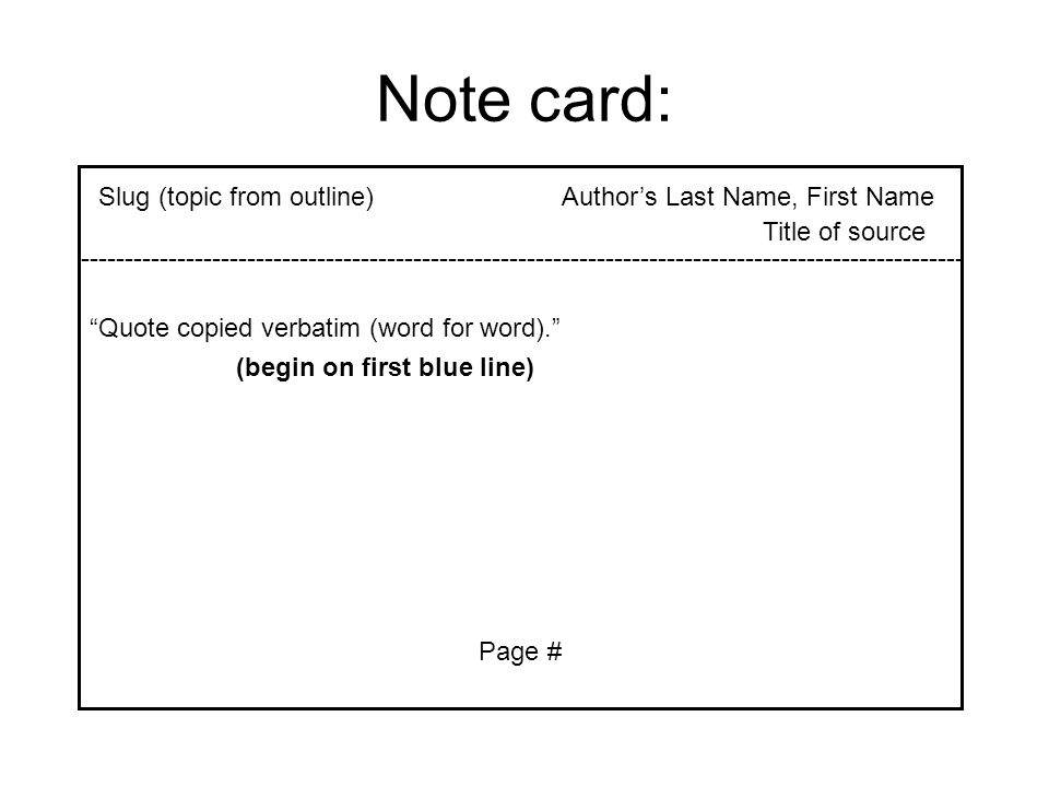 Note card: Slug (topic from outline) Author's Last Name, First Name