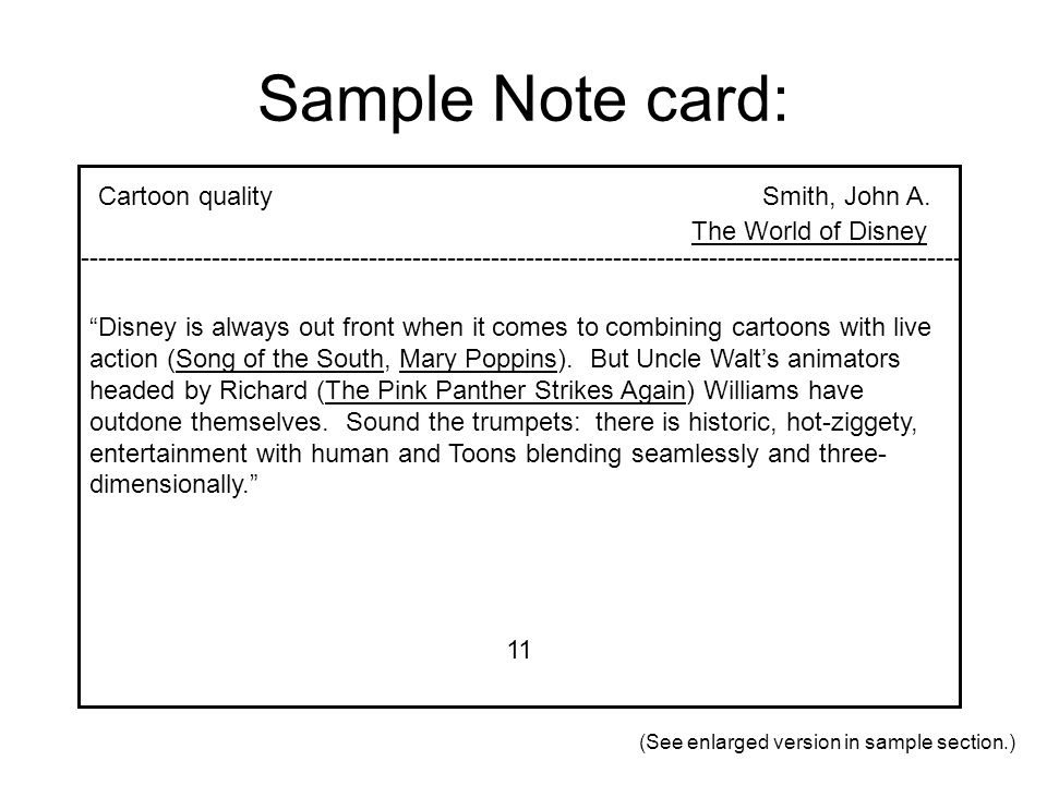 Sample Note card: Cartoon quality Smith, John A. The World of Disney