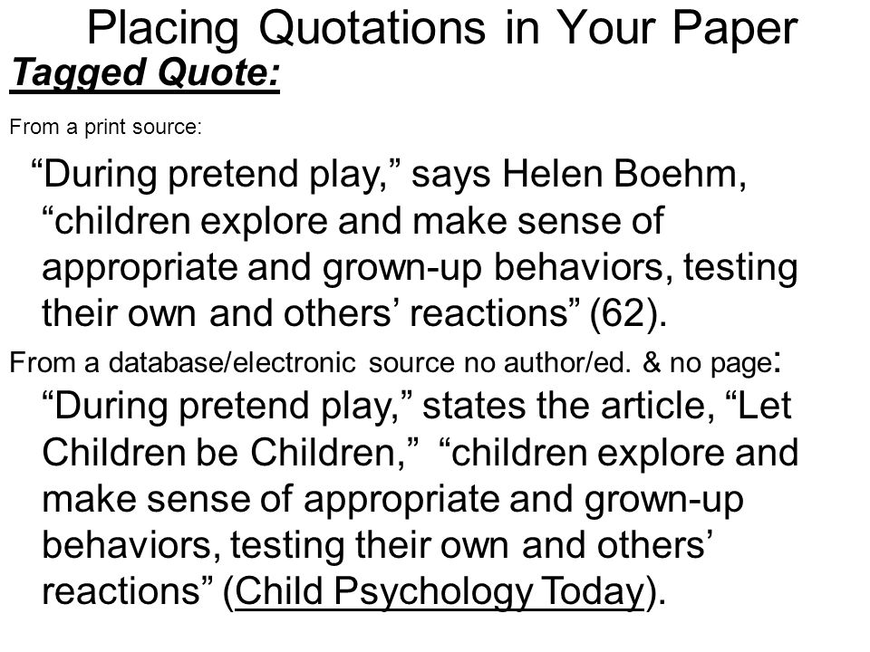 Placing Quotations in Your Paper