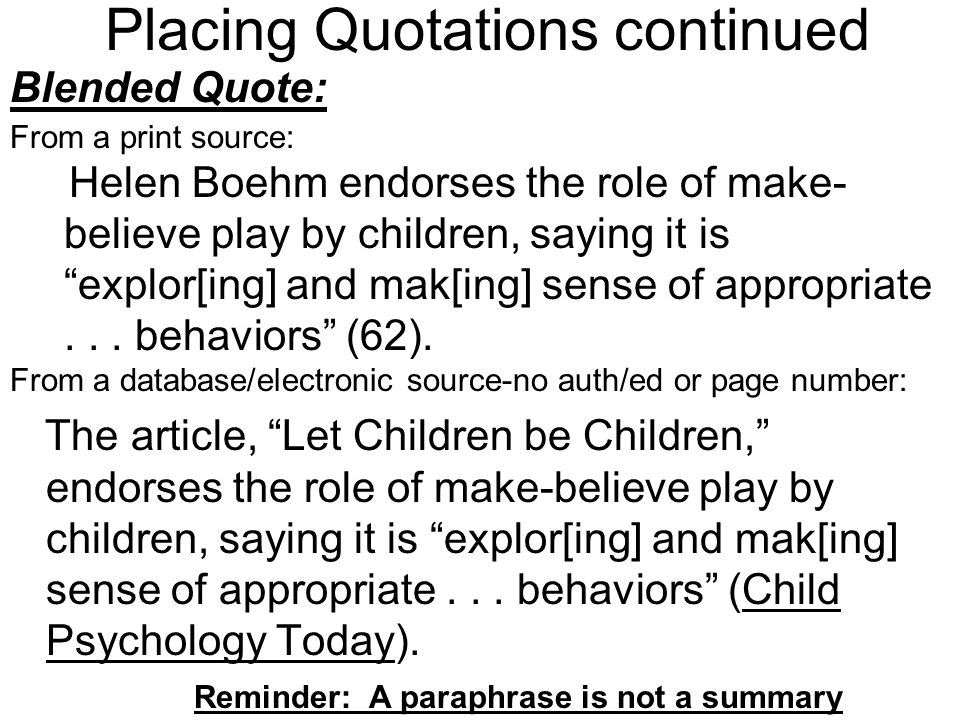 Placing Quotations continued