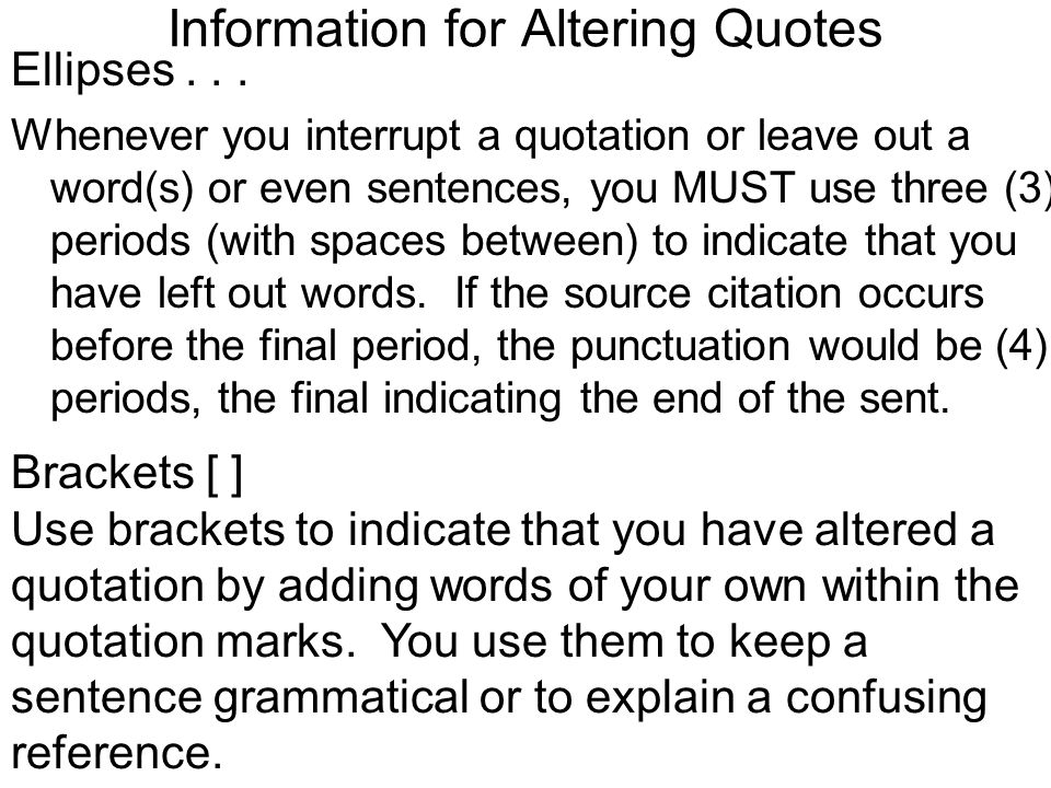 Information for Altering Quotes