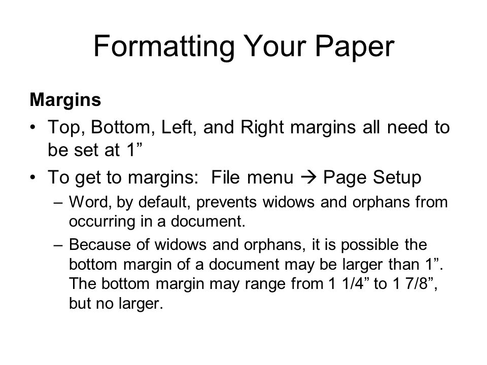 Formatting Your Paper Margins