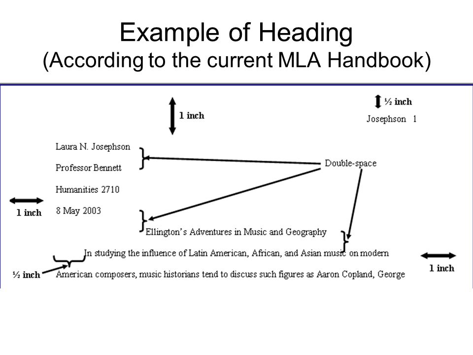 Example of Heading (According to the current MLA Handbook)