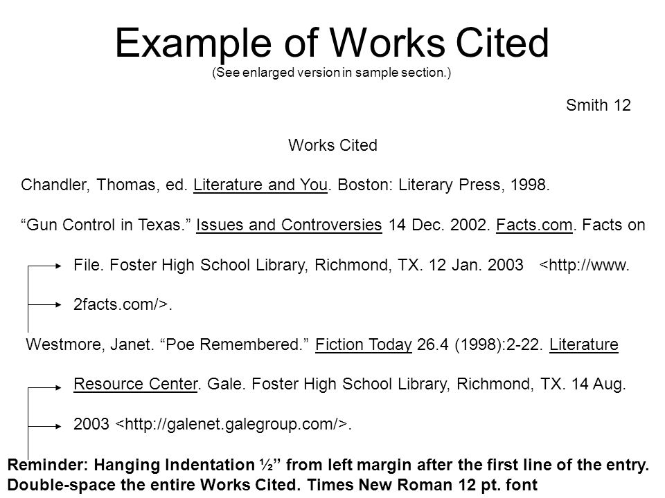Example of Works Cited Smith 12 Works Cited